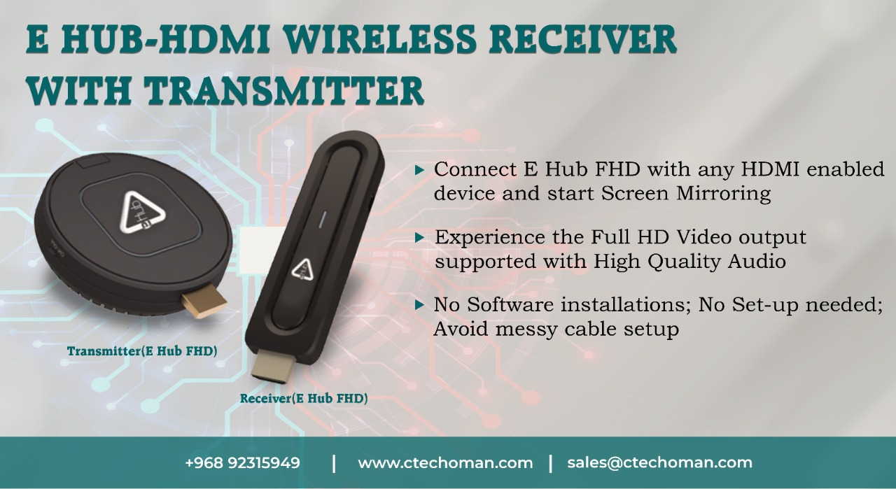 E HUB-HDMI WIRELESS RECEIVER WITH TRANSMITTER